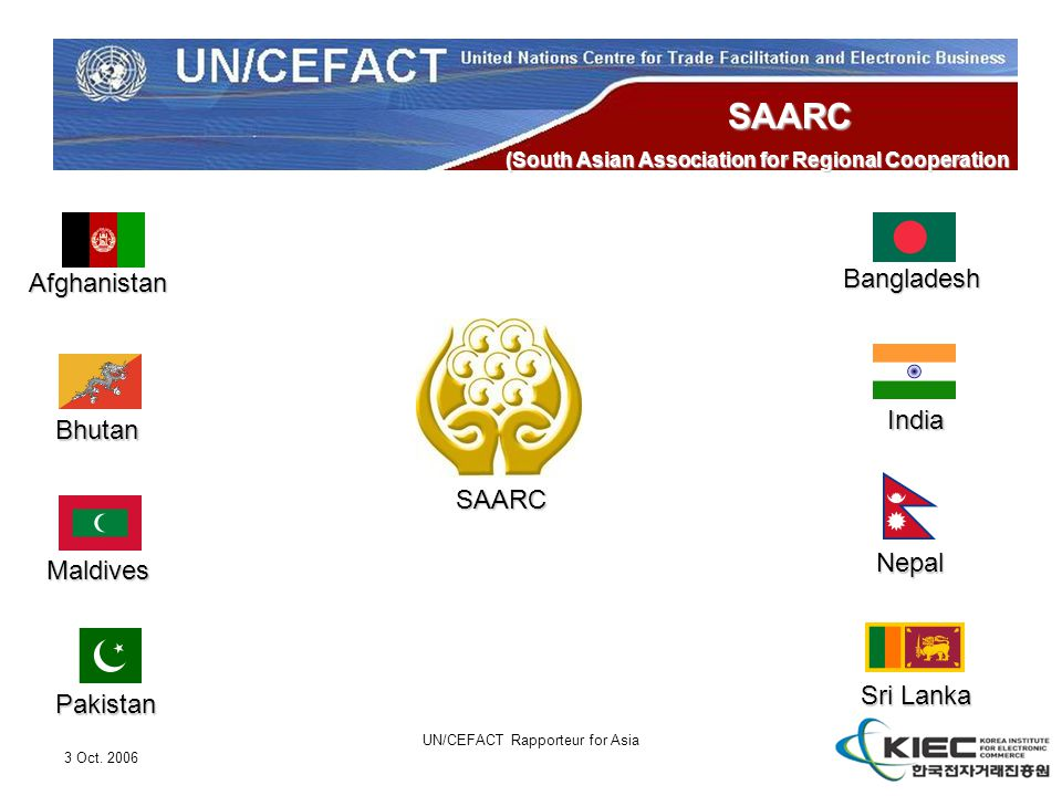 3 Oct. 2006 UN/CEFACT Rapporteur for Asia SAARC (South Asian Association for Regional Cooperation Afghanistan Bangladesh Bhutan India Maldives Nepal P