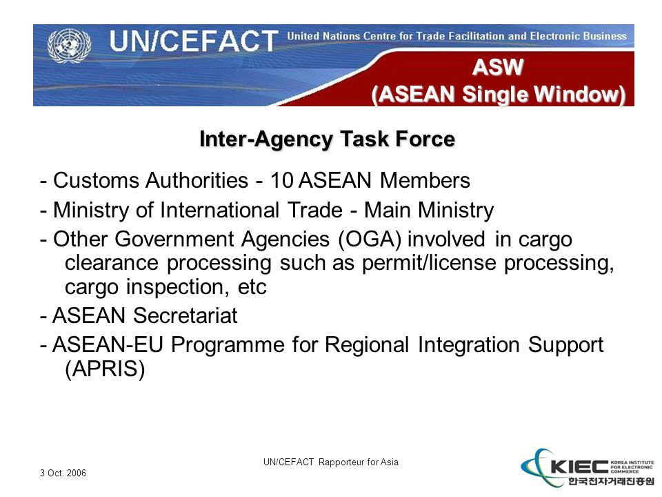 3 Oct. 2006 UN/CEFACT Rapporteur for Asia ASW (ASEAN Single Window) Inter-Agency Task Force - Customs Authorities - 10 ASEAN Members - Ministry of Int