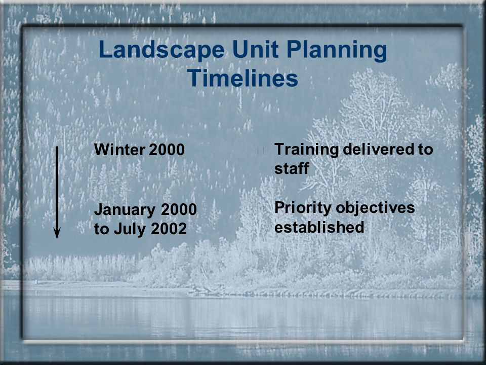 Landscape Unit Planning Timelines Winter 2000 January 2000 to July 2002  Training delivered to staff  Priority objectives established