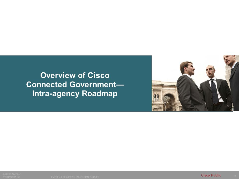 11 © 2005 Cisco Systems, Inc. All rights reserved. Session Number Presentation_ID Cisco Public Overview of Cisco Connected Government— Intra-agency Ro