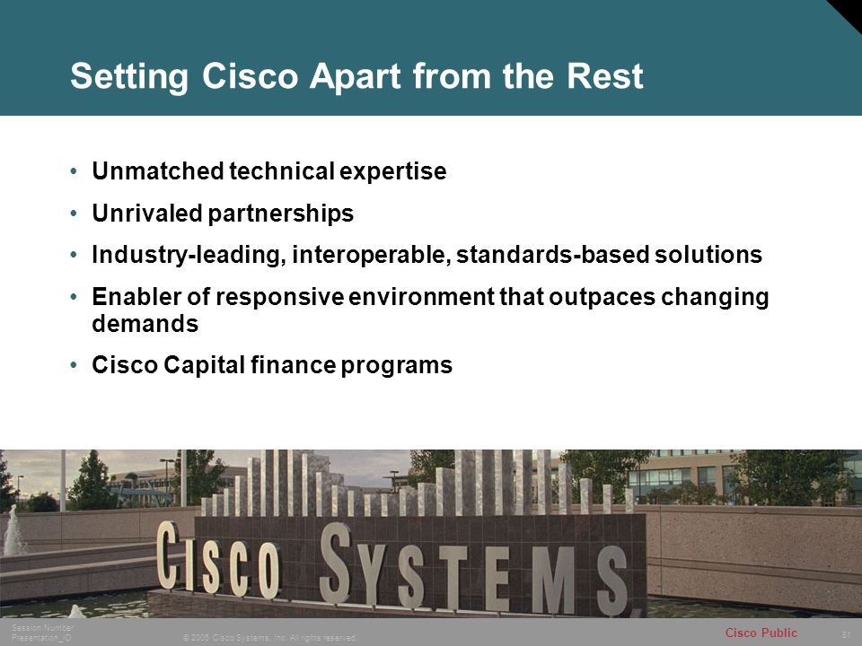 81 © 2005 Cisco Systems, Inc. All rights reserved. Session Number Presentation_ID Cisco Public Setting Cisco Apart from the Rest Unmatched technical e
