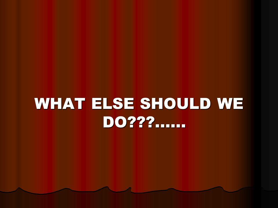 WHAT ELSE SHOULD WE DO ......