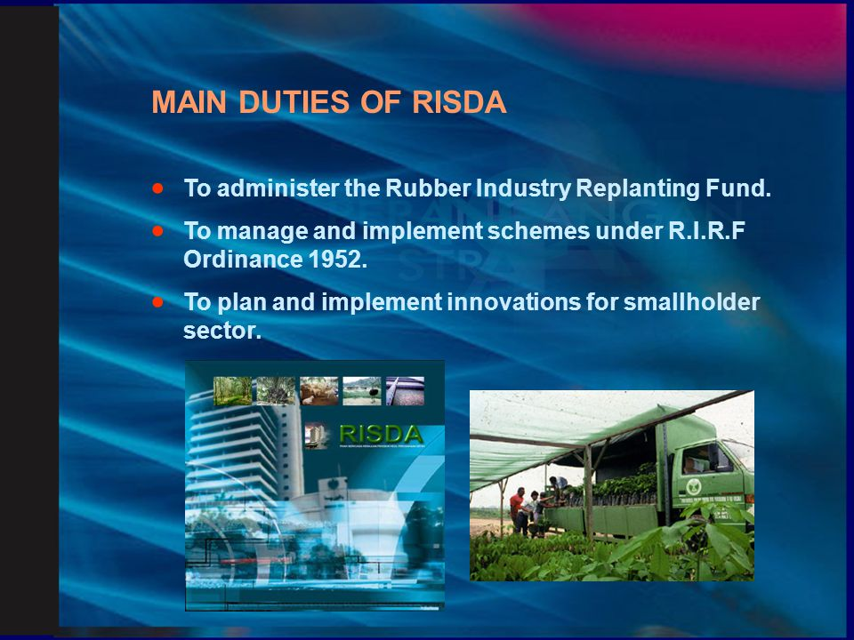 FUNCTIONS OF RISDA  To implement agricultural innovations.