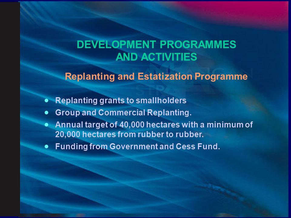 Economic Advancement Programme  On-farm and Off-farm activities  Rubber ++  Fish (Tilapia) rearing.