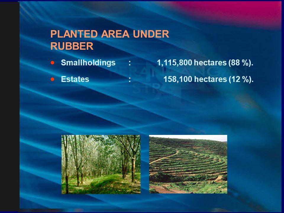 PRODUCTION OF RUBBER  Smallholdings:464,000 mt. (80 %)  Estates:116,000 mt. (20 %)