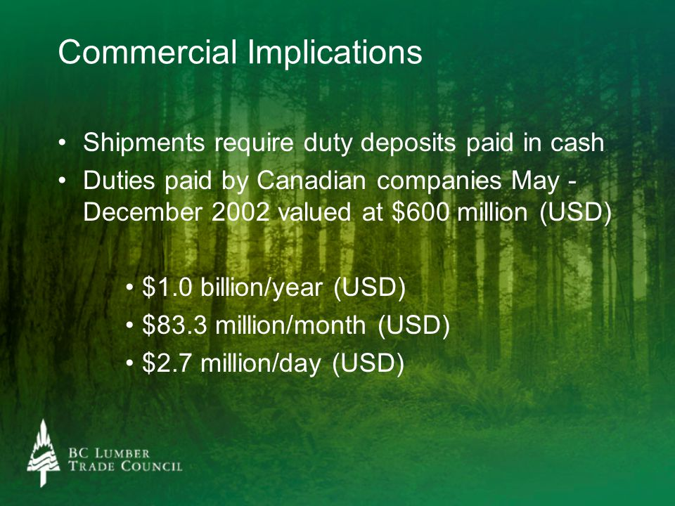 Commercial Implications Shipments require duty deposits paid in cash Duties paid by Canadian companies May - December 2002 valued at $600 million (USD