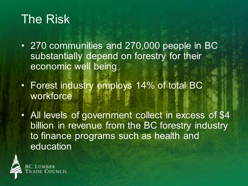 The Risk 270 communities and 270,000 people in BC substantially depend on forestry for their economic well being Forest industry employs 14% of total
