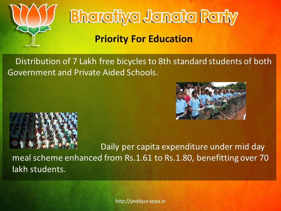 http://yeddyurappa.in Priority For Education Distribution of 7 Lakh free bicycles to 8th standard students of both Government and Private Aided School
