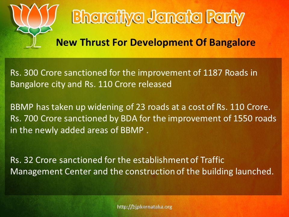 http://bjpkarnataka.org New Thrust For Development Of Bangalore Rs.