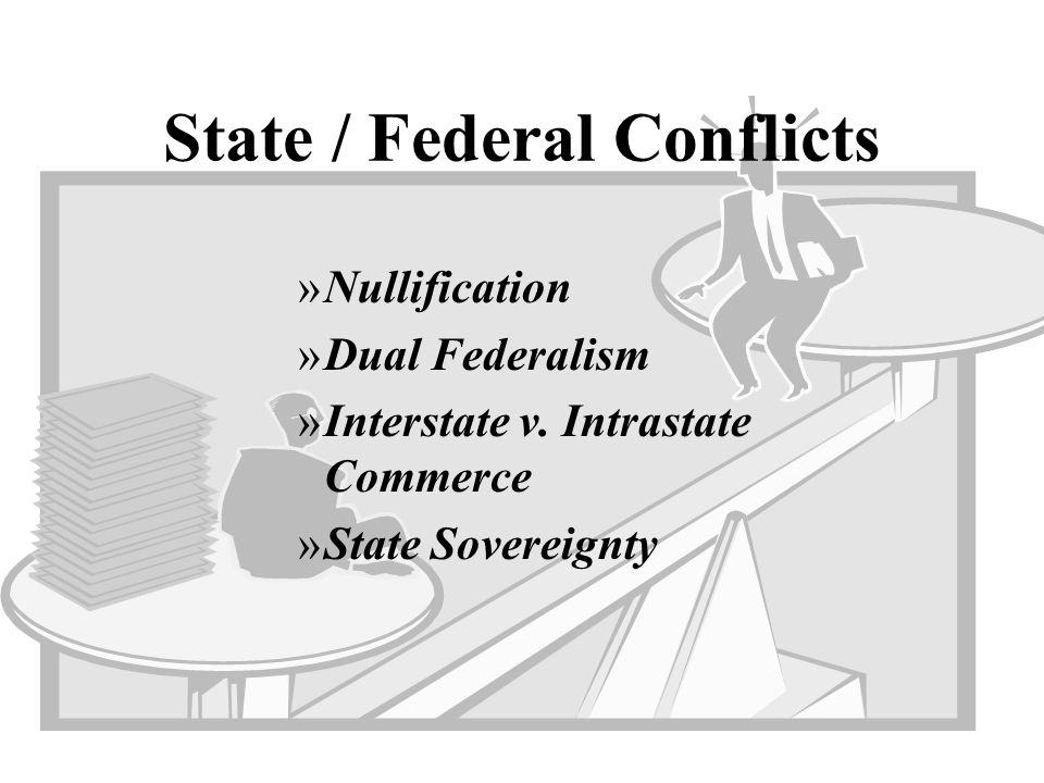 State / Federal Conflicts »Nullification »Dual Federalism »Interstate v. Intrastate Commerce »State Sovereignty