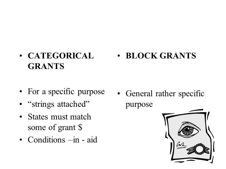 """CATEGORICAL GRANTS For a specific purpose """"strings attached"""" States must match some of grant $ Conditions –in - aid BLOCK GRANTS General rather specif"""