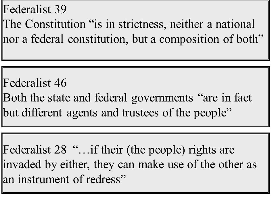 Federalist 39 The Constitution is in strictness, neither a national nor a federal constitution, but a composition of both Federalist 46 Both the state and federal governments are in fact but different agents and trustees of the people Federalist 28 …if their (the people) rights are invaded by either, they can make use of the other as an instrument of redress