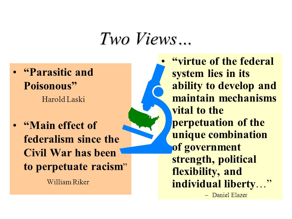 """Two Views… """"Parasitic and Poisonous"""" Harold Laski """"Main effect of federalism since the Civil War has been to perpetuate racism """" William Riker """"virtue"""