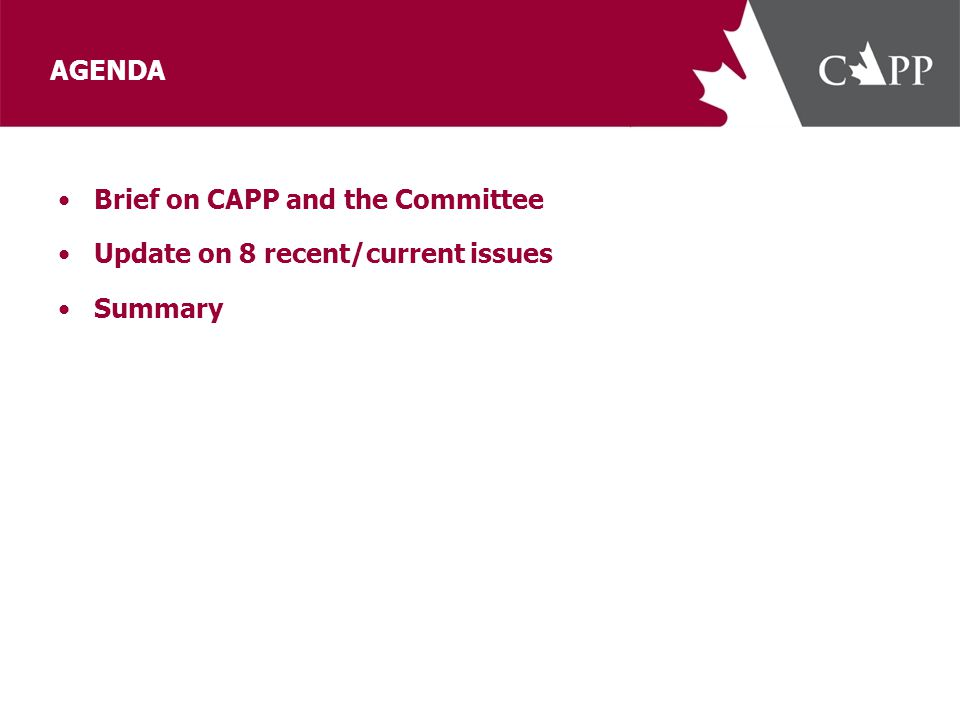 AGENDA Brief on CAPP and the Committee Update on 8 recent/current issues Summary
