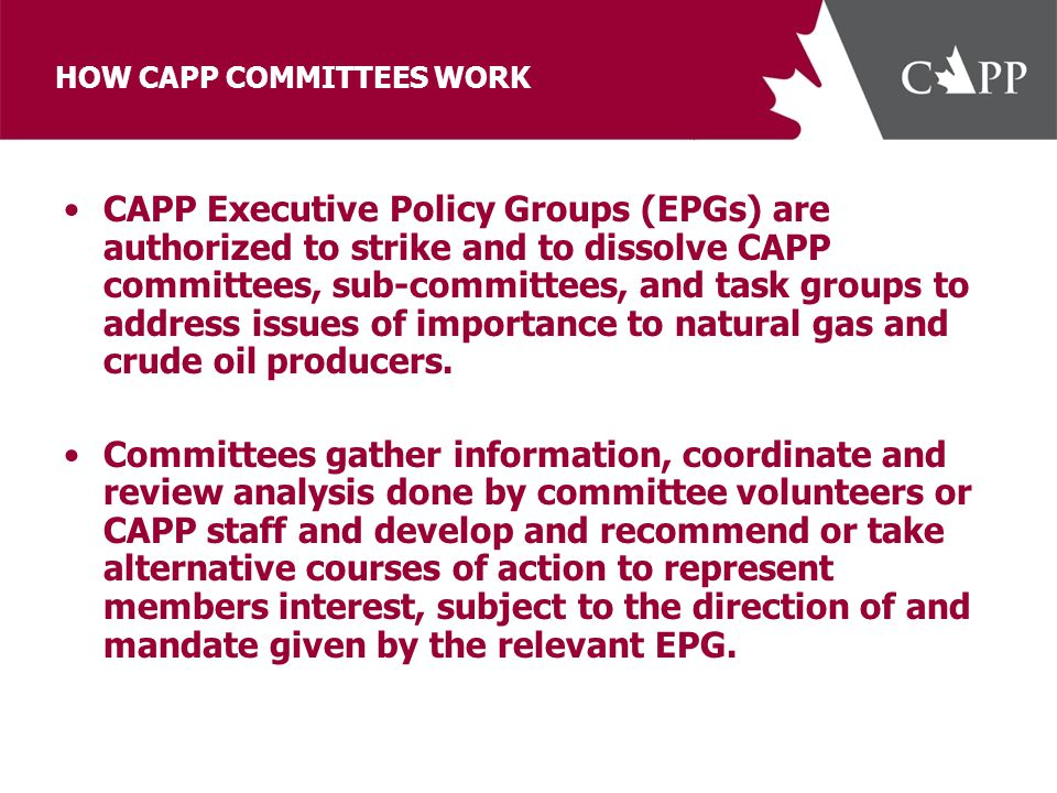 HOW CAPP COMMITTEES WORK CAPP Executive Policy Groups (EPGs) are authorized to strike and to dissolve CAPP committees, sub-committees, and task groups to address issues of importance to natural gas and crude oil producers.