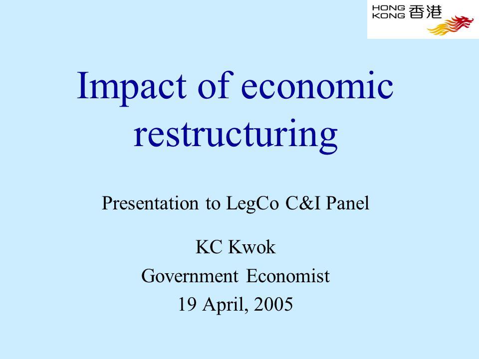 Impact of economic restructuring Presentation to LegCo C&I Panel KC Kwok Government Economist 19 April, 2005