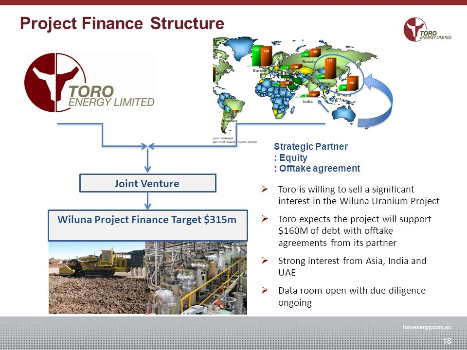 Joint Venture Wiluna Project Finance Target $315m Strategic Partner : Equity : Offtake agreement Wiluna Project Financing Concept 18 Project Finance Structure  Toro is willing to sell a significant interest in the Wiluna Uranium Project  Toro expects the project will support $160M of debt with offtake agreements from its partner  Strong interest from Asia, India and UAE  Data room open with due diligence ongoing