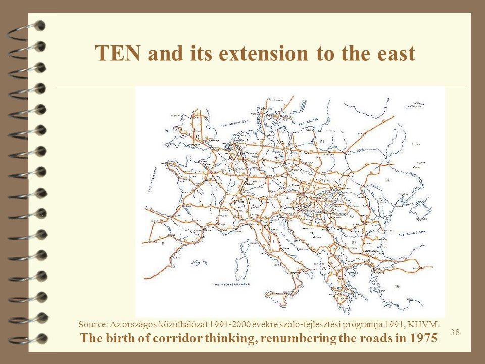 38 Source: Az országos közúthálózat 1991-2000 évekre szóló-fejlesztési programja 1991, KHVM. The birth of corridor thinking, renumbering the roads in