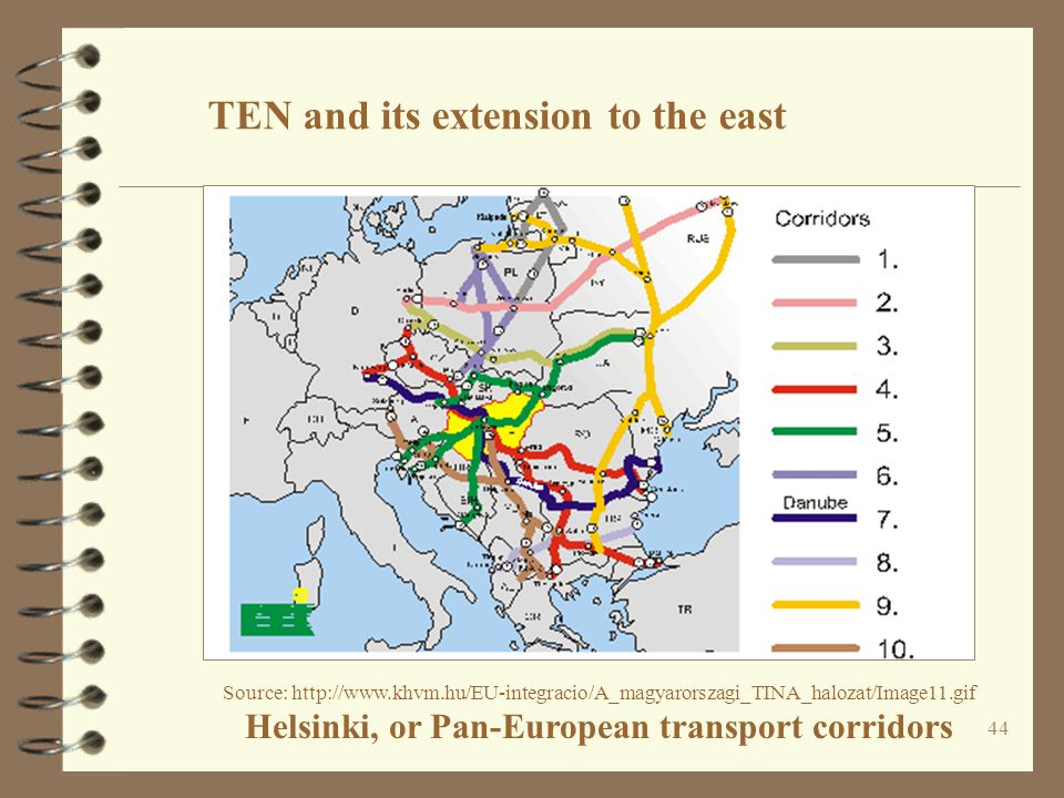 44 Source: http://www.khvm.hu/EU-integracio/A_magyarorszagi_TINA_halozat/Image11.gif Helsinki, or Pan-European transport corridors TEN and its extensi