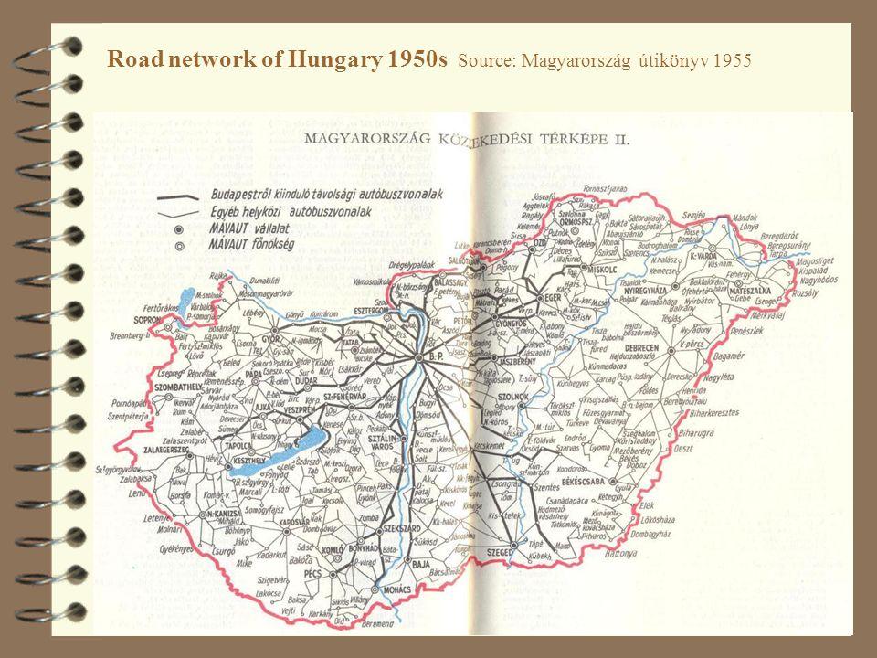 47 Road network of Hungary 1950s Source: Magyarország útikönyv 1955