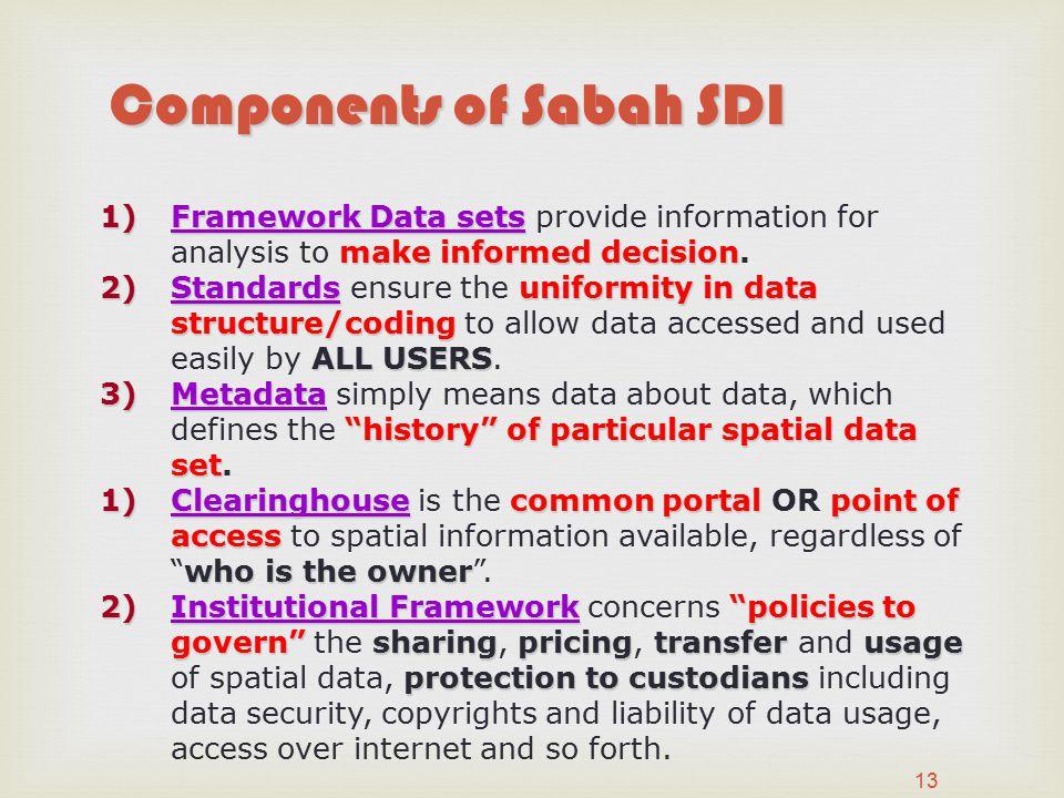 13 1)Framework Data sets makeinformed decision 1)Framework Data sets provide information for analysis to make informed decision.