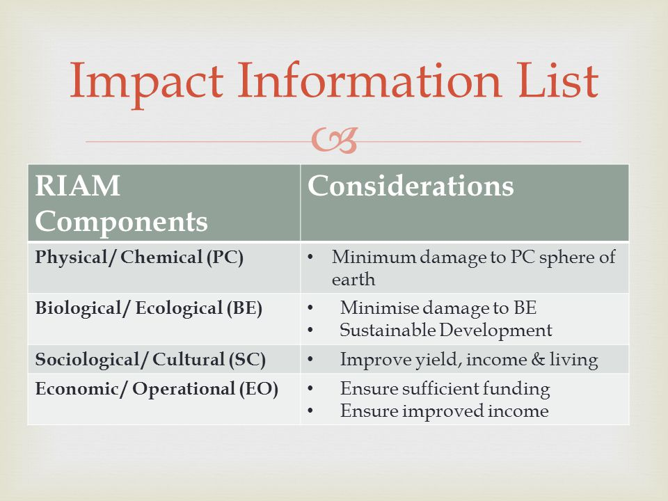 RIAM Components Considerations Physical / Chemical (PC) Minimum damage to PC sphere of earth Biological / Ecological (BE) Minimise damage to BE Sustainable Development Sociological / Cultural (SC) Improve yield, income & living Economic / Operational (EO) Ensure sufficient funding Ensure improved income Impact Information List