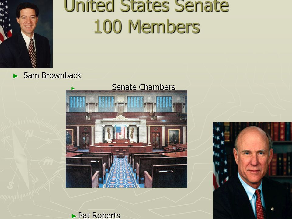 United States Senate 100 Members ► Sam Brownback ► Senate Chambers ► Pat Roberts