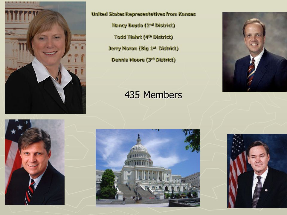 United States Representatives from Kansas Nancy Boyda (2 nd District) Todd Tiahrt (4 th District) Jerry Moran (Big 1 st District) Dennis Moore (3 rd District) ► 435 Members