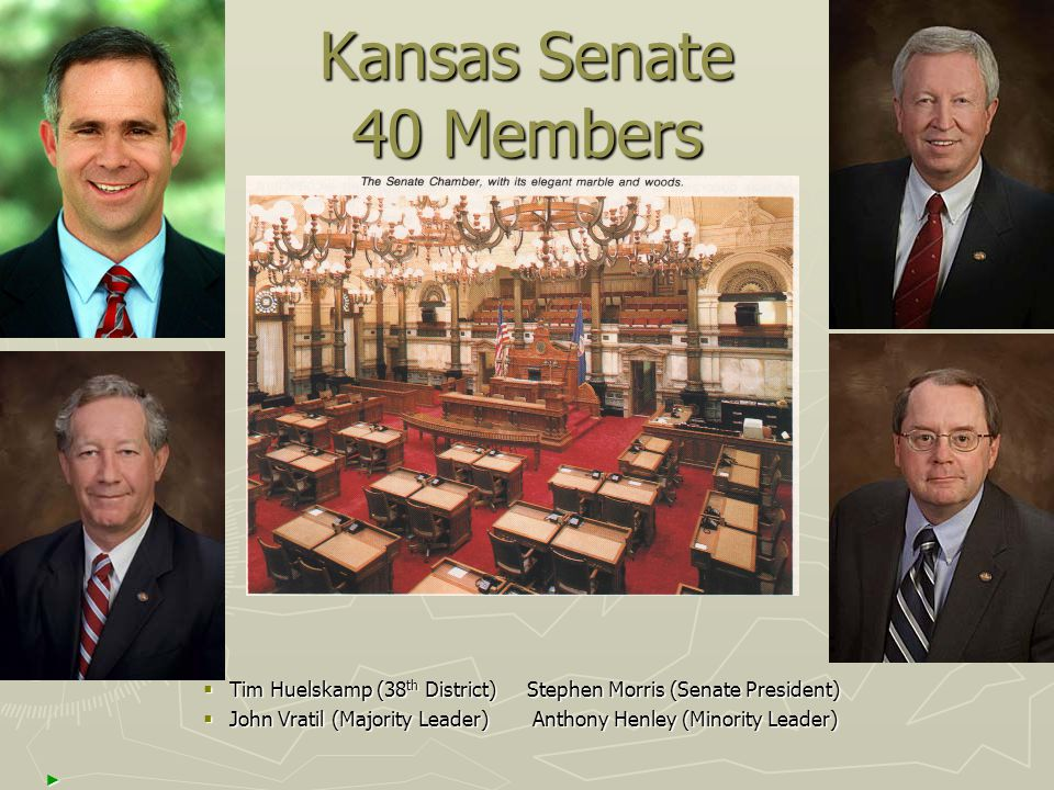Kansas Senate 40 Members  Tim Huelskamp (38 th District) Stephen Morris (Senate President)  John Vratil (Majority Leader) Anthony Henley (Minority L