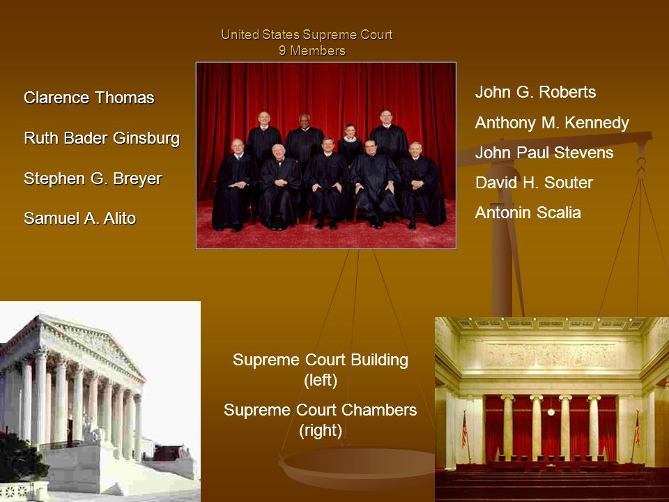 United States Supreme Court 9 Members Clarence Thomas Ruth Bader Ginsburg Stephen G.