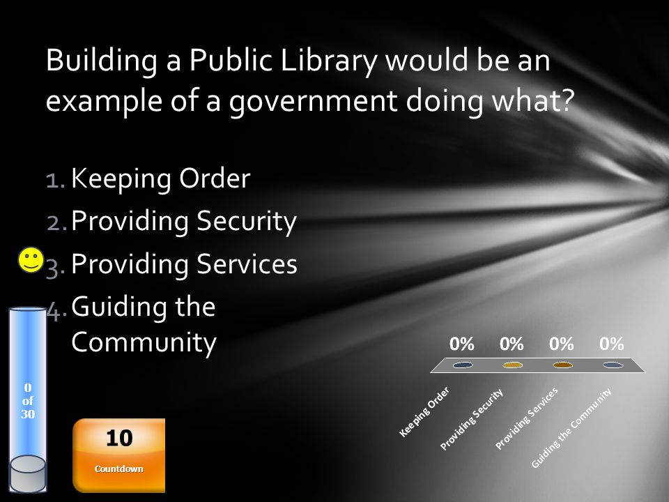 Building a Public Library would be an example of a government doing what? 0 of 30 1.Keeping Order 2.Providing Security 3.Providing Services 4.Guiding