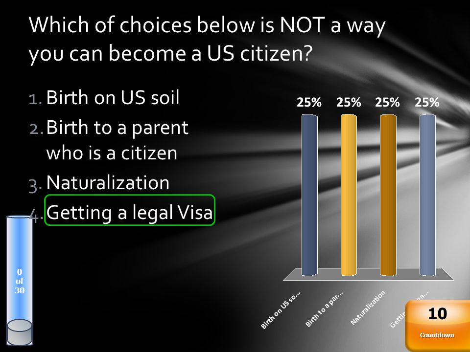 Which of choices below is NOT a way you can become a US citizen? 0 of 30 Countdown 10 1.Birth on US soil 2.Birth to a parent who is a citizen 3.Natura