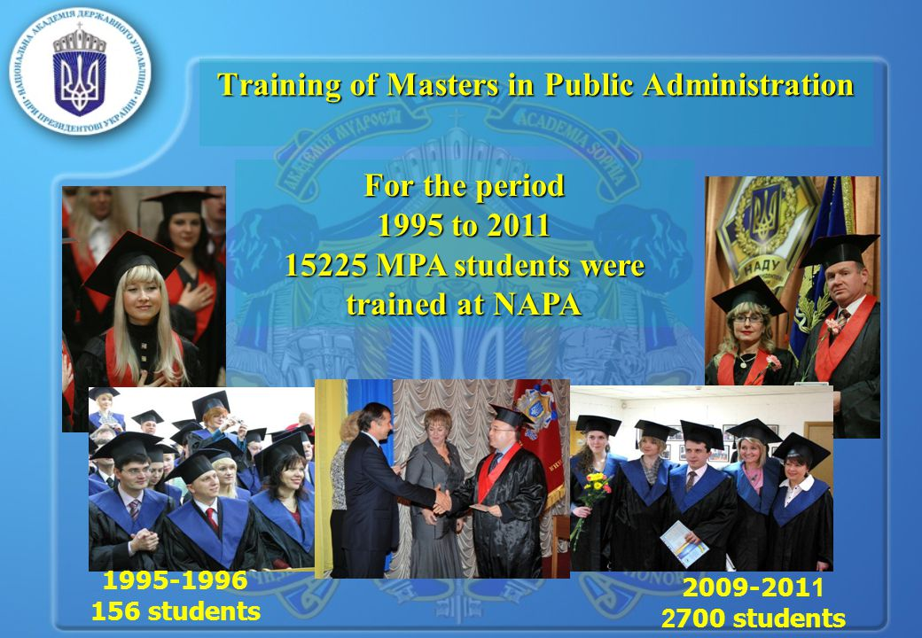 Training of Masters in Public Administration For the period 1995 to 2011 15225 MPA students were trained at NAPA 1995-1996 156 students 2009-201 1 2 700 students