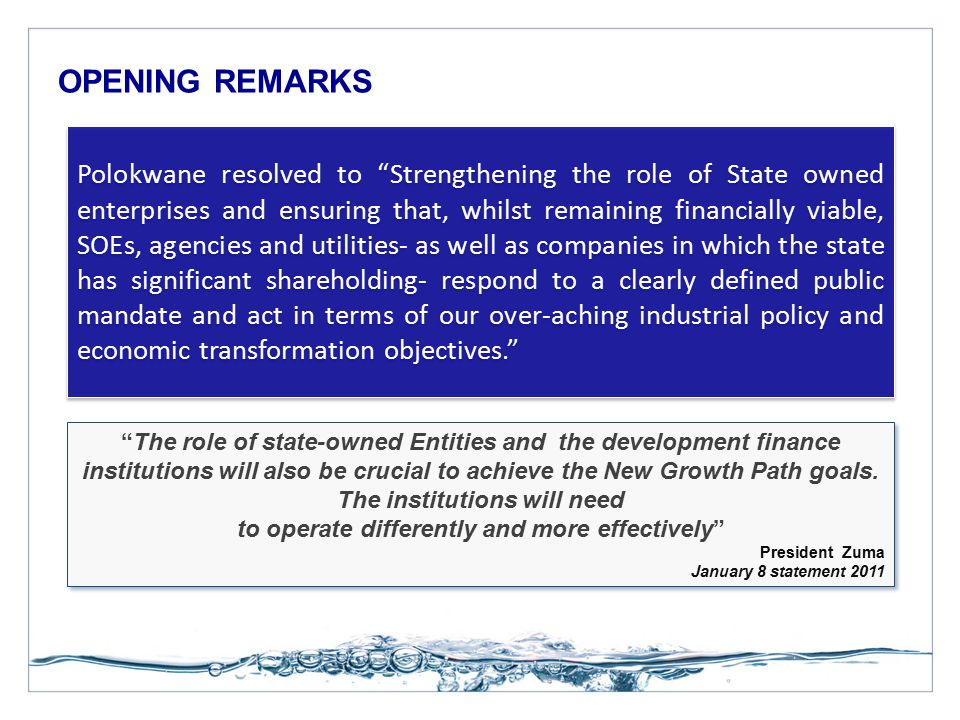 """OPENING REMARKS """"The role of state-owned Entities and the development finance institutions will also be crucial to achieve the New Growth Path goals."""