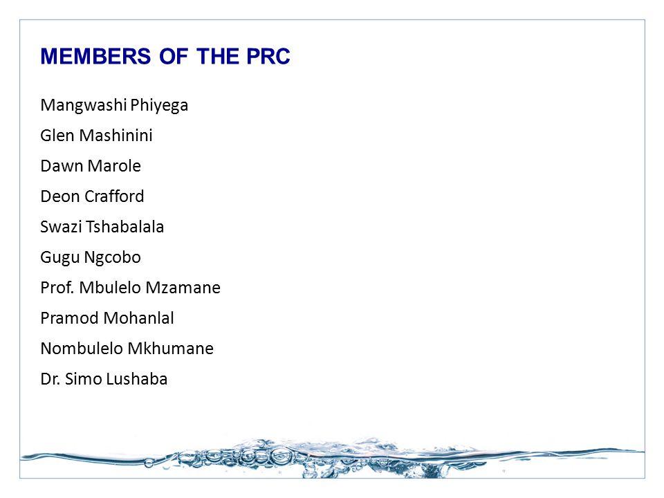 Mangwashi Phiyega Glen Mashinini Dawn Marole Deon Crafford Swazi Tshabalala Gugu Ngcobo Prof. Mbulelo Mzamane Pramod Mohanlal Nombulelo Mkhumane Dr. S