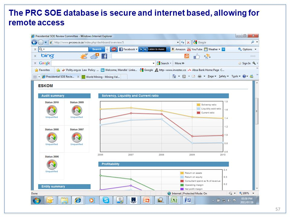 The PRC SOE database is secure and internet based, allowing for remote access 57
