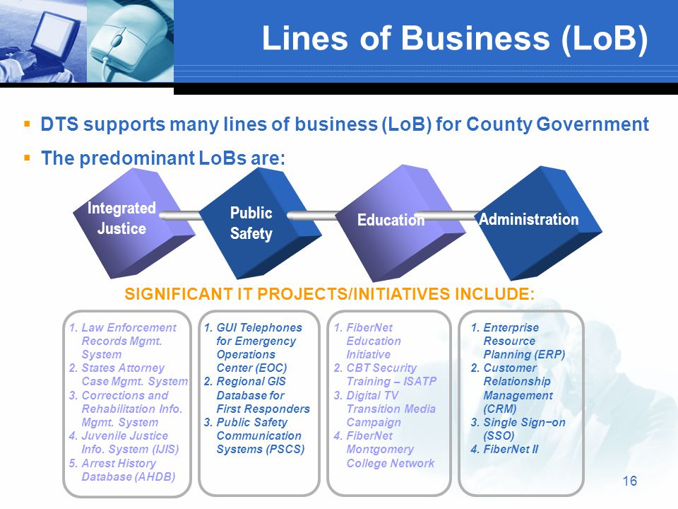 16 Lines of Business (LoB)  DTS supports many lines of business (LoB) for County Government  The predominant LoBs are: Integrated Justice Public Safety Education Administration 1.Law Enforcement Records Mgmt.