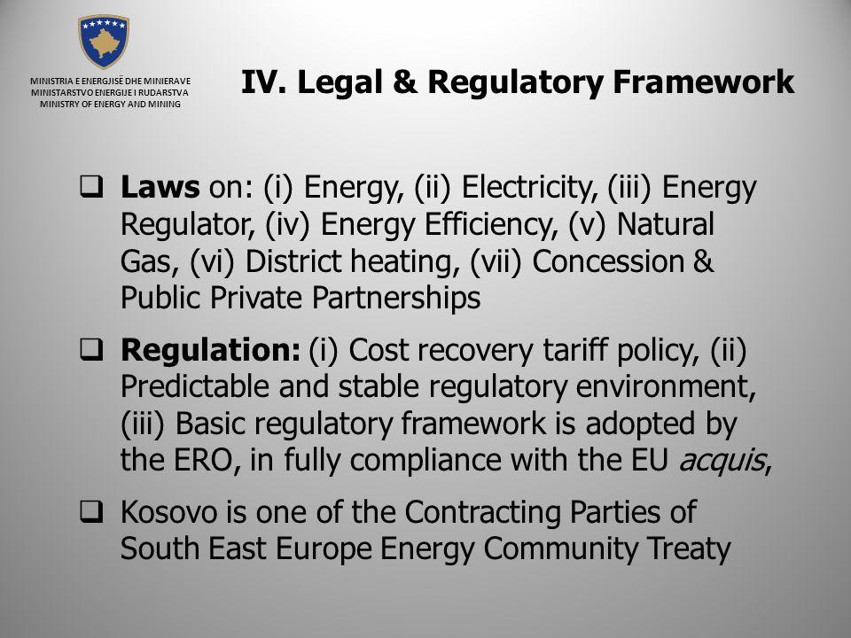 MINISTRIA E ENERGJISË DHE MINIERAVE MINISTARSTVO ENERGIJE I RUDARSTVA MINISTRY OF ENERGY AND MINING IV. Legal & Regulatory Framework  Laws on: (i) En