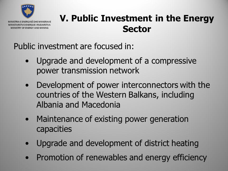 MINISTRIA E ENERGJISË DHE MINIERAVE MINISTARSTVO ENERGIJE I RUDARSTVA MINISTRY OF ENERGY AND MINING V. Public Investment in the Energy Sector Public i