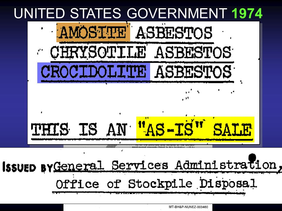 §1064.1 national defense requirements have created a shortage of asbestos for the needs of defense…civilian use must be curtailed… it is necessary to promote the defense of the United States…it is hereby ordered that: (2)(iii) …no person shall fabricate, spin, or process in any way Amosite asbestos fiber… except where … necessary to fill defense orders UNITED STATES GOVERNMENT 1942