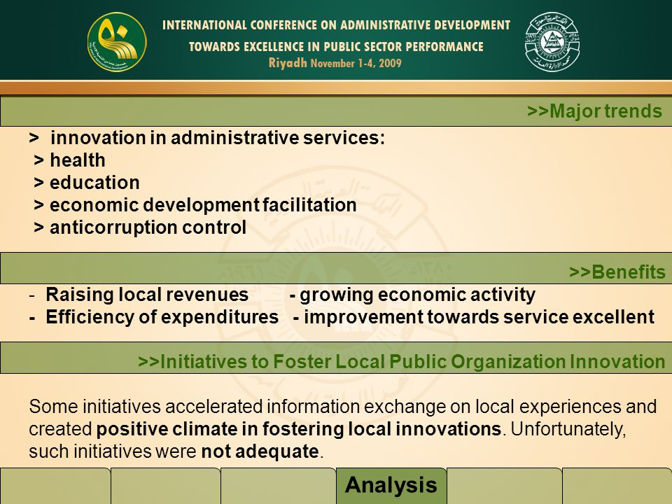 Analysis >>Major trends > innovation in administrative services: > health > education > economic development facilitation > anticorruption control >>B