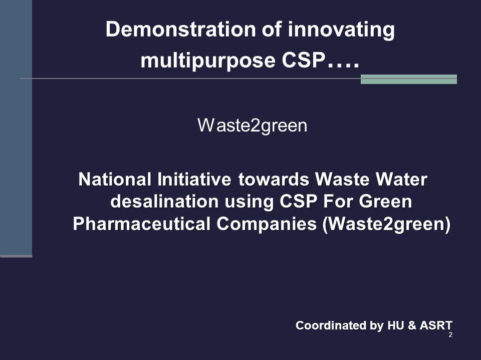 Demonstration of innovating multipurpose CSP ….