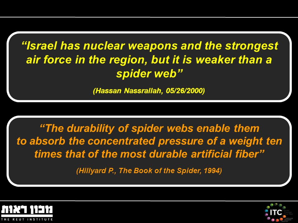 ITC Israel has nuclear weapons and the strongest air force in the region, but it is weaker than a spider web (Hassan Nassrallah, 05/26/2000) The durability of spider webs enable them to absorb the concentrated pressure of a weight ten times that of the most durable artificial fiber (Hillyard P., The Book of the Spider, 1994)