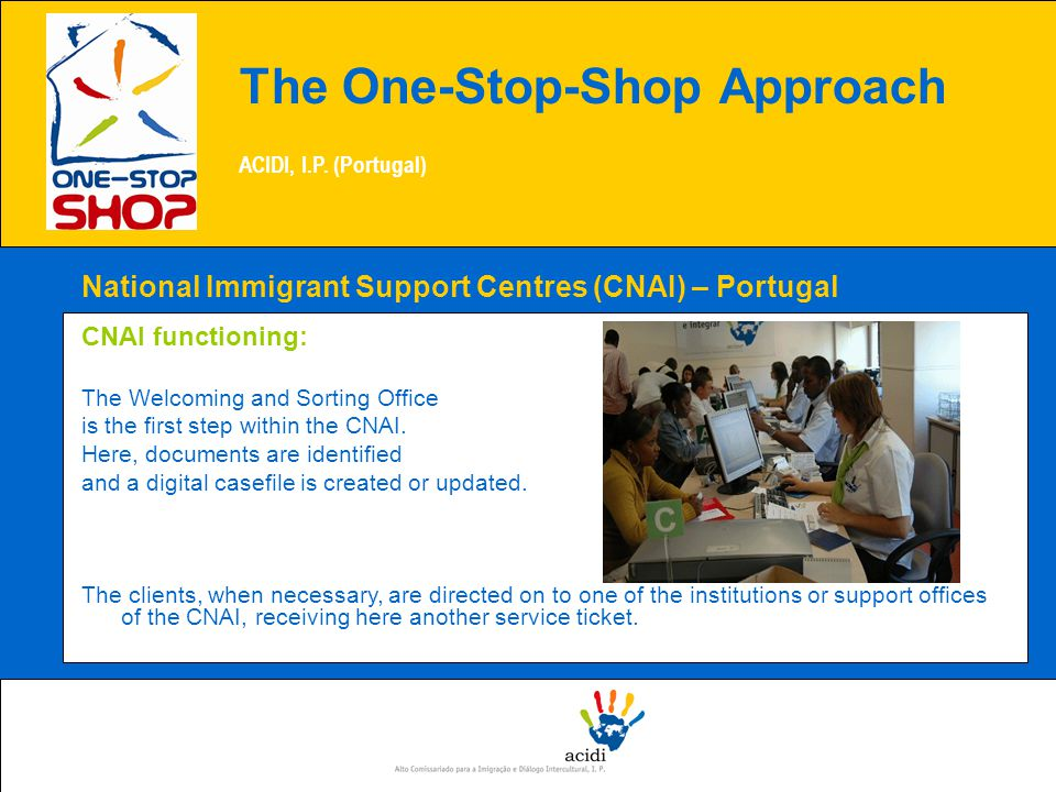 National Immigrant Support Centres (CNAI) – Portugal CNAI functioning: The Welcoming and Sorting Office is the first step within the CNAI.