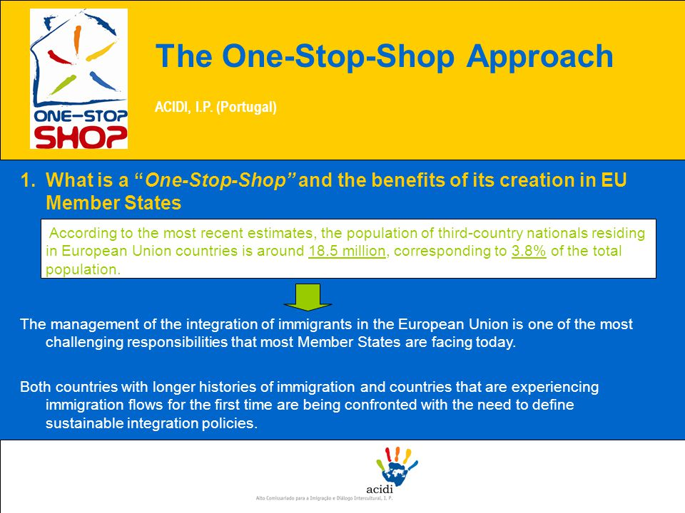 The One-Stop-Shop Approach ACIDI, I.P.