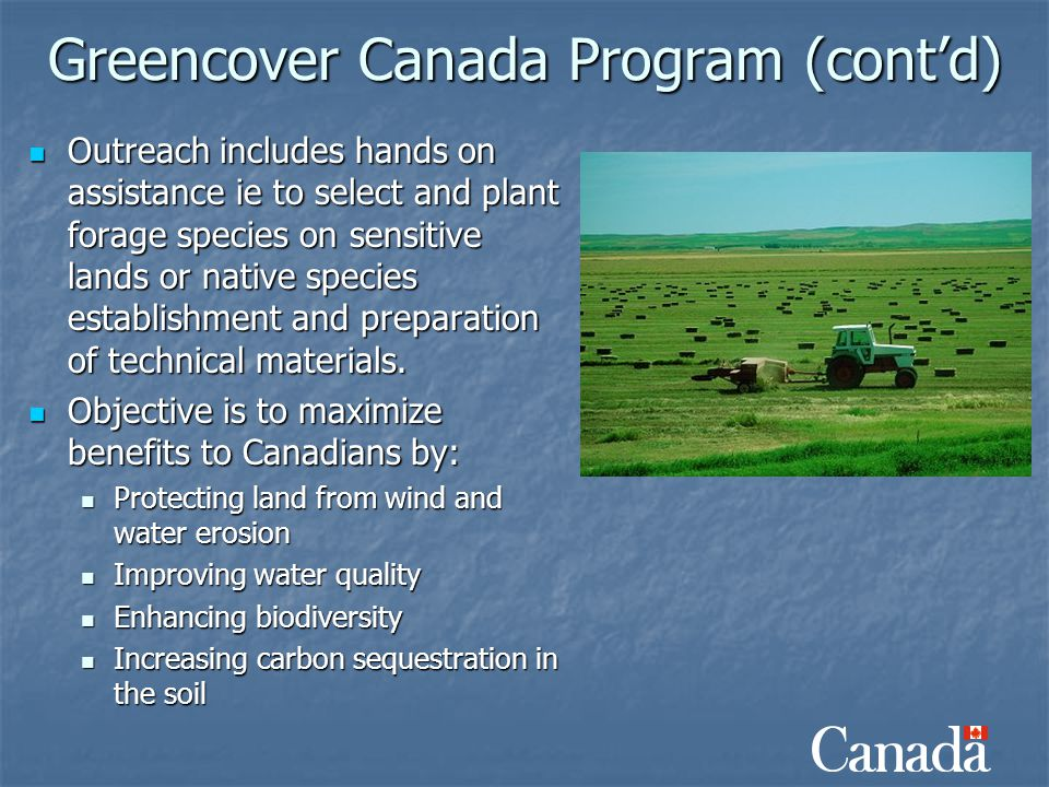 Greencover Canada Program (cont'd) Outreach includes hands on assistance ie to select and plant forage species on sensitive lands or native species es