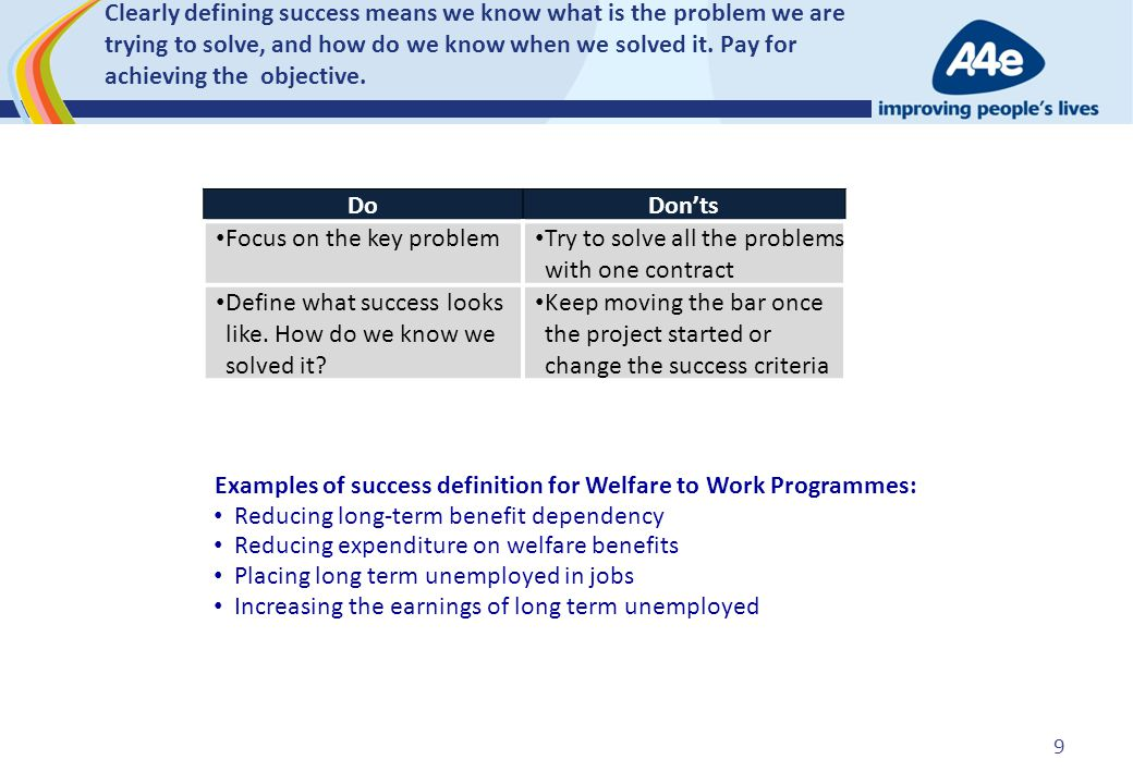 Clearly defining success means we know what is the problem we are trying to solve, and how do we know when we solved it. Pay for achieving the objecti