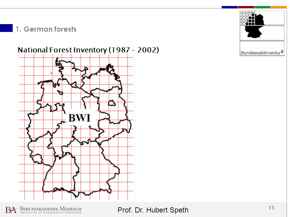 Prof. Dr. Hubert Speth 11 1. German forests National Forest Inventory (1987 – 2002)