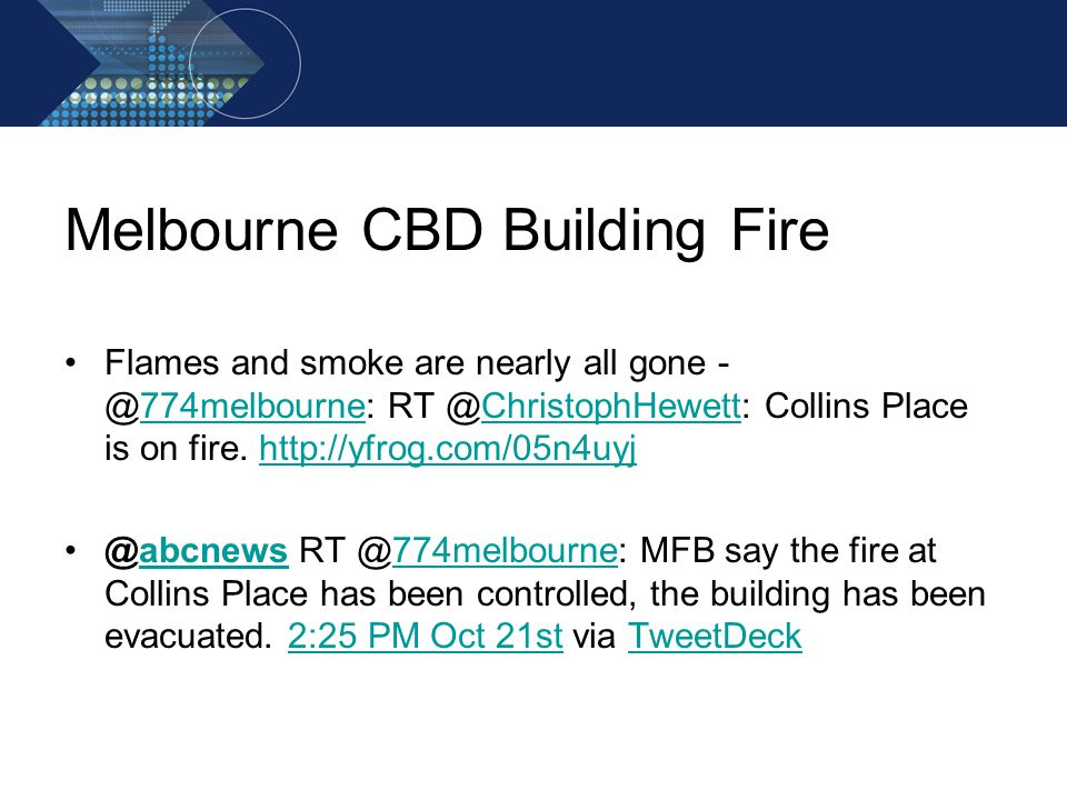 Melbourne CBD Building Fire Flames and smoke are nearly all gone - @774melbourne: RT @ChristophHewett: Collins Place is on fire.