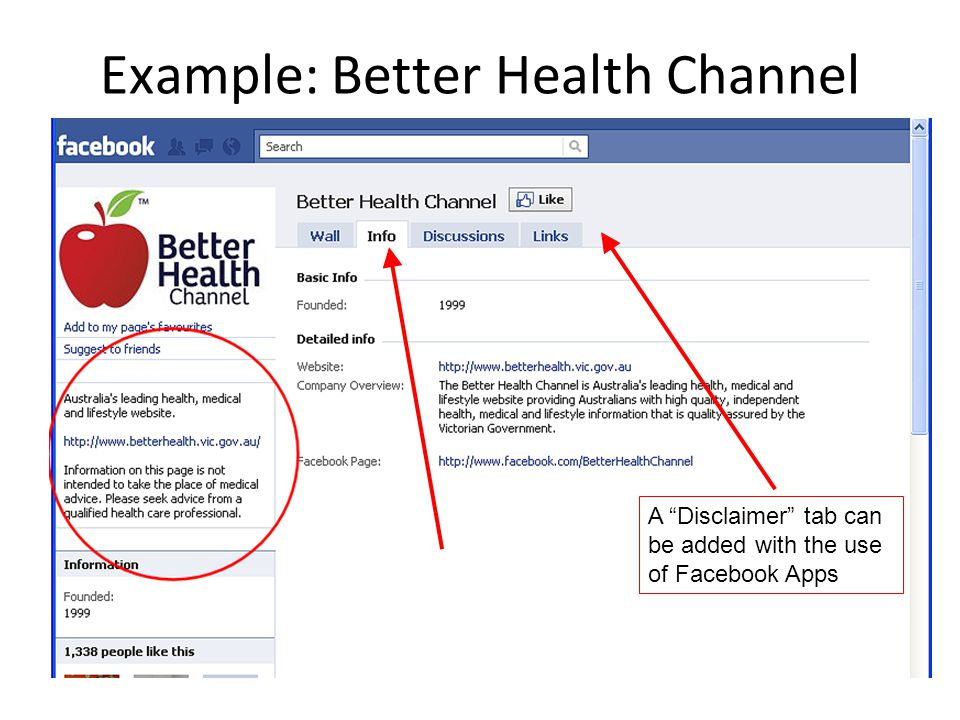 """Example: Better Health Channel Disclaimers can be added in the body of the 'Info' tab A """"Disclaimer"""" tab can be added with the use of Facebook Apps"""